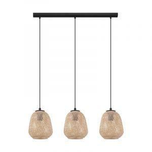 Zwarte landelijke hanglamp, Nicole, staal