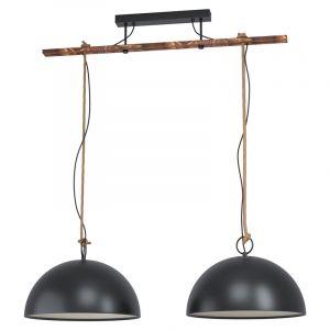 Zwarte landelijke hanglamp, Kato, staal