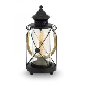 Landelijke Klassieke Glazen Zwarte Transparante tafellamp Katoo