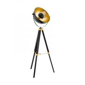 Moderne vloerlamp Robin Hout/Staal Zwart/Messing/Goud