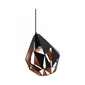 Moderne tafellamp Dylan Staal Zwart/Koper
