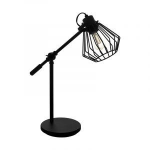 Zwarte industriële tafellamp, Valentijn, staal