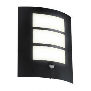 Zwarte moderne buitenlamp met bewegingssensor, Elyana, staal, met bewegingssensor
