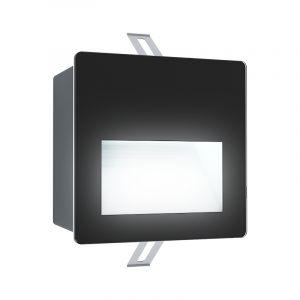 Zwarte moderne inbouwspot, Luigino, aluminium, 3,7w 4000K (wit) LED