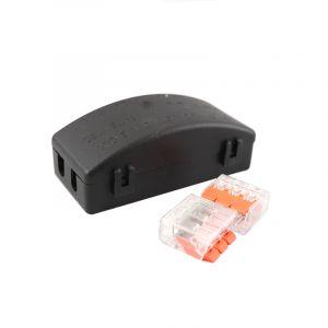 Zwarte kabelkoppeling IP20 maximaal 3 x 2,5mm