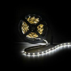 5m LED strip, helder Wit (4000k), 12V, 60 leds p/m, 4,8W