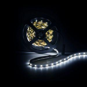 5m LED strip, koud Wit (6500k), 12V, 60 leds p/m, 4,8W