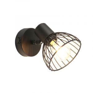 Industriële wandspot Bram, met schakelaar, zwart