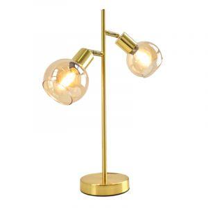 Design tafellamp Avery, goud met glazen kap, Rond, 3L