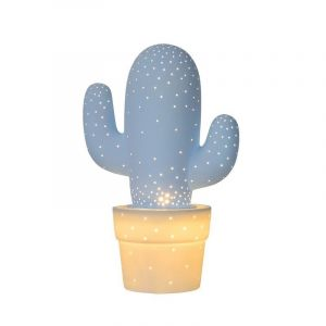 Pastel blauwe tafellamp Cactus