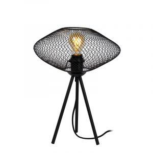 Zwarte Tafellamp Mesh, metaal, met aan/uit schakelaar