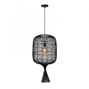 Zwarte hanglamp Garve, rotan
