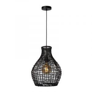 Zwarte hanglamp Alban, rotan