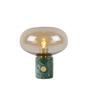 Amberkleurige Tafellamp Charlize, marmer