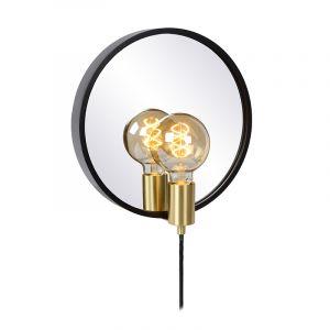 Zwarte landelijke spiegelverlichting, Reflex, glas