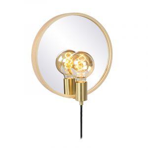 Houten landelijke spiegelverlichting, Reflex, glas