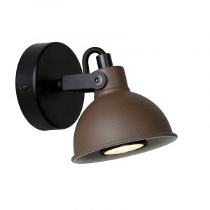 Industriele wandlamp Damian, Roestbruin en Zwart