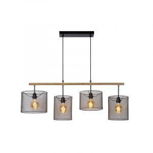 Zwarte hanglamp Baskett, Rond