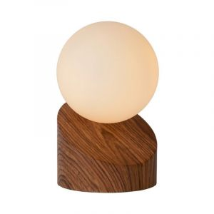 Hout tafellamp Len, Rond