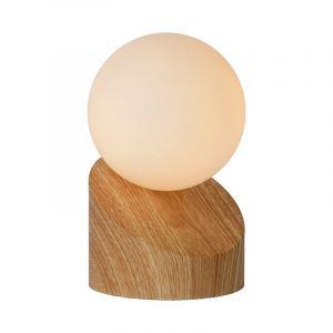 Licht hout tafellamp Len, Rond