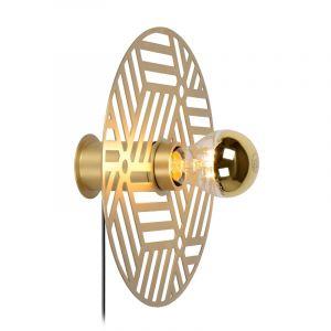 Gouden wandlamp Olenna, staal, met schakelaar