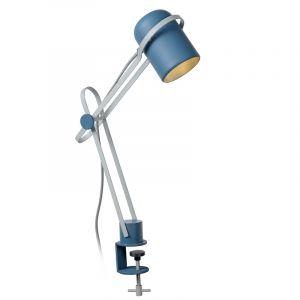 Grijze klemlamp Bastin, staal, met aan/uit schakelaar op het snoer