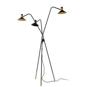 Zwarte driepoot vloerlamp Pepijn, staal