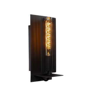 Zwarte wandlamp Lionel, metaal
