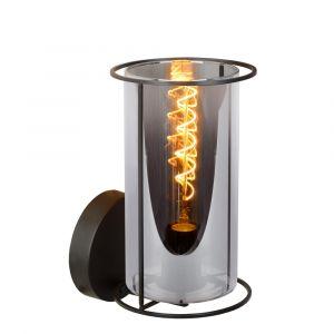 Zwarte wandlamp Dounia, glas