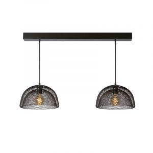 Grijze ijzer hanglamp Mesh, Rond