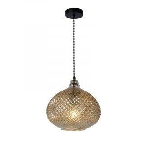 Retro hanglamp Gerben, Zilver en Zwart