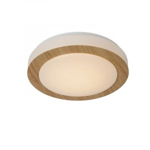 Licht hout plafonniere Dimy, Rond