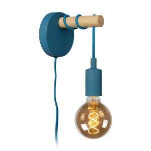 Blauwe wandlamp Paulien, metaal