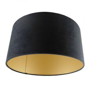 Zwart/gouden velours lampenkap Milene, 40 cm
