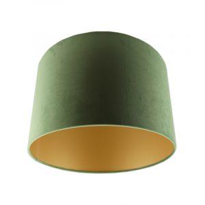 Olijfgroene/gouden velours lampenkap Madelyn, 30 cm