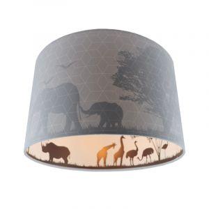 Grijze dieren kinderkamer plafondlamp Safari, Binnenzijde doorschijnend