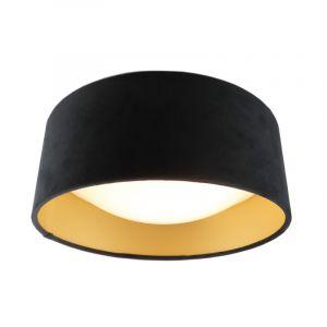 Zwarte velours plafondlamp met gouden binnenzijde