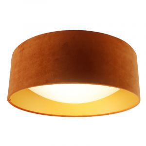 Oranje velours plafondlamp Dewy met gouden binnenzijde, 40cm