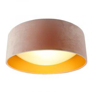 Lichtroze velours plafondlamp Dewy met gouden binnenzijde, 40cm