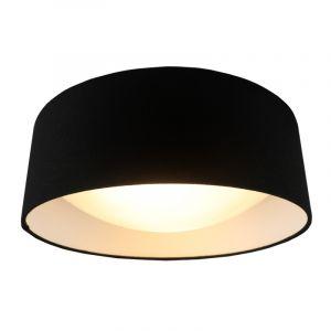 Zwart Linnen plafondlamp Dewy, 40 cm