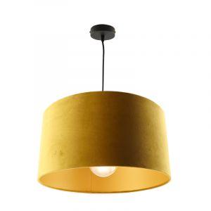 Hanglamp Urvin, geel met goud velours, 40 cm