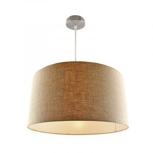 Chroom hanglamp Urvin, linnen stof, 40 cm