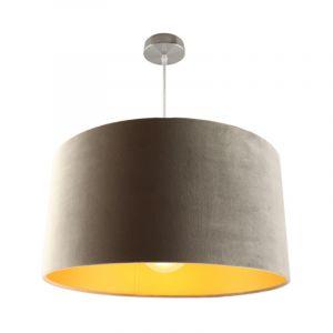 Chroom hanglamp Urvin, grijs met goud velours, 50 cm