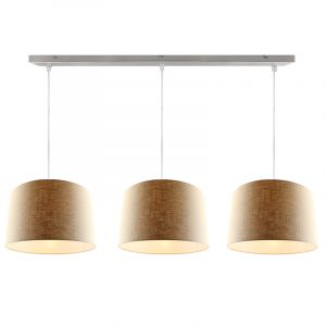 Staal 3L hanglamp met linnen  30cm lampenkappen
