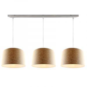 3L stalen hanglamp met 40 cm linnen  lampenkappen