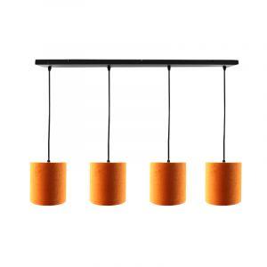 Zwarte hanglamp 4L met 15 cm velours oranje/gouden lampenkappen