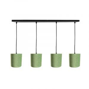 Zwarte hanglamp 4L met 15 cm velours olijfgroen/gouden lampenkappen