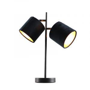 Zwarte tafellamp talita, modern, met 2 zwart/gouden lampenkappen