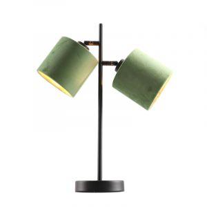 Zwarte tafellamp talita, modern, met 2 groen/gouden lampenkappen