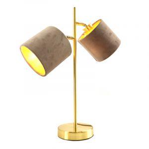 Moderne, gouden tafellamp Tamer met 2 taupe kapjes